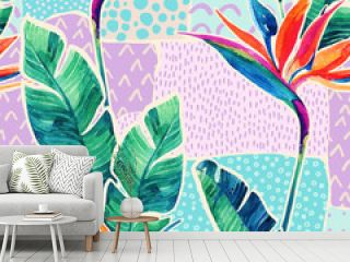 Watercolor tropical flowers on geometric background with doodles.