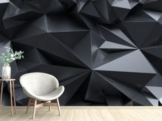 3d render, abstract black crystal background, faceted texture, macro panorama, wide panoramic polygonal wallpaper