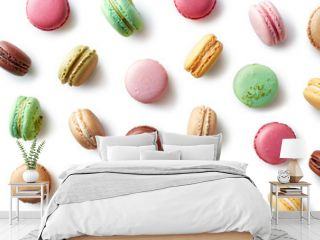 Colorful french macarons on white background