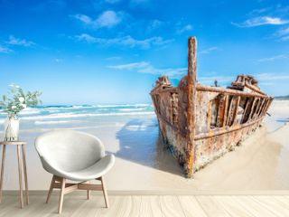 ship wreck on fraser island, Australia