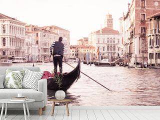 Man on gondola in Venice , Italian street on water, Venetian taxi on water, Symbol of Italian Venice, Beautiful nooks in Venice, Italian street on water, Man on gondola in Venice