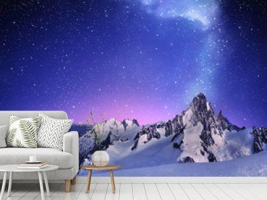 mountain landscape under clear starry sky