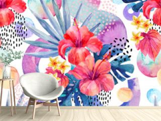 Watercolor tropical background.