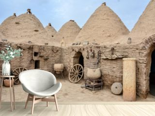 Traditional beehive mud brick desert houses, located in Harran, Sanliurfa/Turkey. These buildings topped with domed roofs and constructed from mud and salvaged brick.