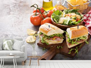 Italian sub sandwich with chips