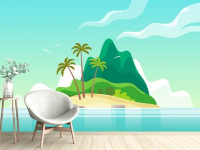 Tropical island with palm trees. Summer vacation. Vector illustration.