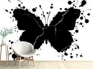 Grunge butterfly shape and paint blobs splattered