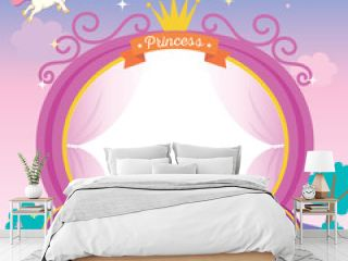 Illustration of cute princess cart template on night background with unicorn stars and moon.