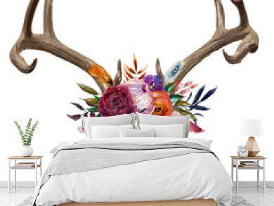deer skull with floral wreath
