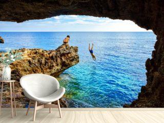 Sea cave near Cape Greko of Ayia Napa and Protaras on Cyprus island, Mediterranean Sea.