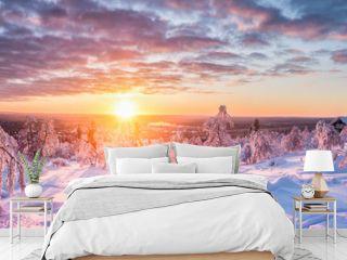 Winter wonderland in Scandinavia at sunset