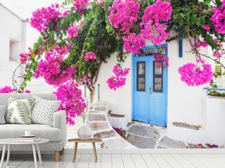 Traditional greek house with flowers in Paros island, Greece