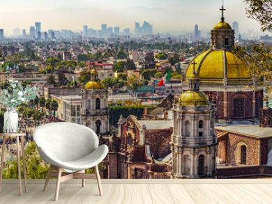 Mexico. Basilica of Our Lady of Guadalupe. The old basilica and cityscape of Mexico City on the far