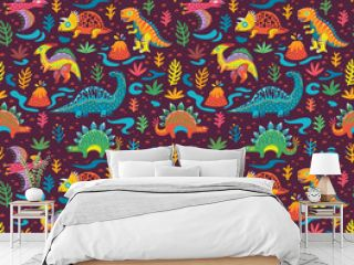 Seamless pattern with cute little cartoon dinosaurs and flowers. Ideal for kids, art prints and surface