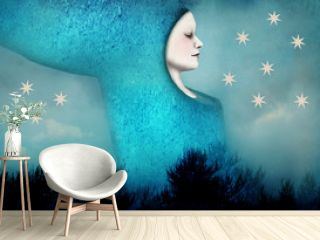 Beautiful artistic image of a woman sleeping in a surreal night landscape