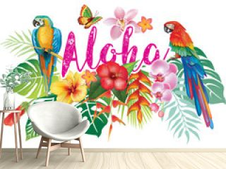 Tropical Flowers, Flamingoes and Parrots