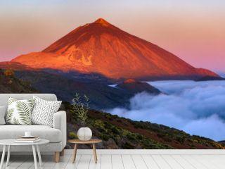 Teide volcano in Tenerife in the light of the rising sun..