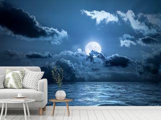 Full moon over the ocean