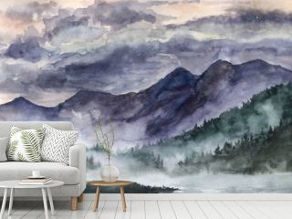 Hand drawn watercolor landscape. Norway, cold nature.