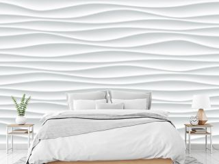 White wave pattern background with seamless horizontal wave wall texture. Vector trendy ripple wallpaper interior decoration. Seamless 3d geometry design