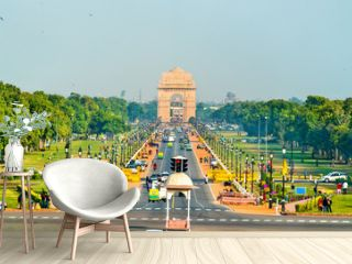 View of Rajpath ceremonial boulevard from the Secretariat Building towards the India Gate. New Delhi