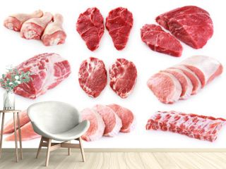 Collection of meat. Beef, pork, chicken. Different parts of meat.
