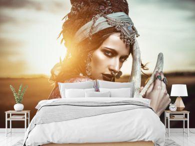 gypsy woman at sunset