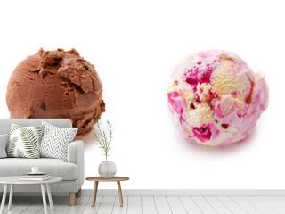 Four ball of fruit ice cream isolated .