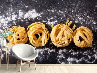 fresh pasta on a wooden table