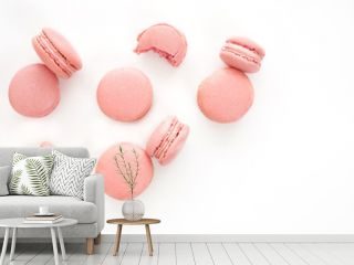 Classic french pink macarons on white background. Isolated
