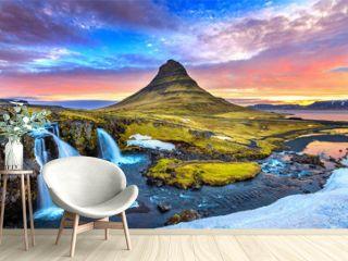 Kirkjufell at sunrise in Iceland. Beautiful landscape.