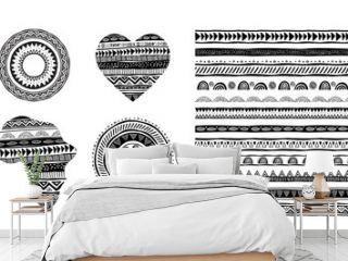 African, tribal, ethnic vector pattern brushes. Vector design elements, tribal geometric ornament, frames, borders