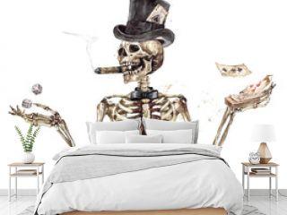 Human Skeleton. Watercolor Illustration.