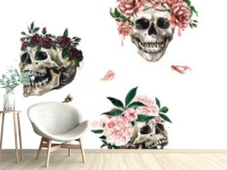 Human Skulls decorated with Flowers. Watercolor Illustration.