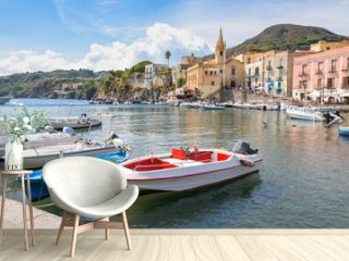 Boats at Marina Corta in Lipari town