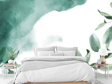 Horizontal background of green leaves and green paint splash on white background