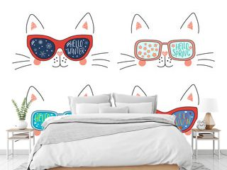 Set of cute cat faces in sunglasses with summer, autumn, winter, spring symbols reflected, text. Isolated objects on white. Hand drawn vector illustration. Line drawing. Concept four seasons.