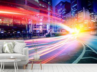 Motion speed light trails on night street