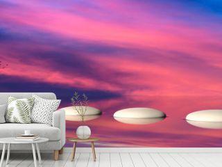 Zen stepping stones on water, sky on sunset background. 3d illustration