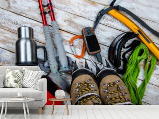 climbing equipment on a wooden background