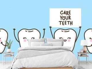 Set of cute little teeth on blue background