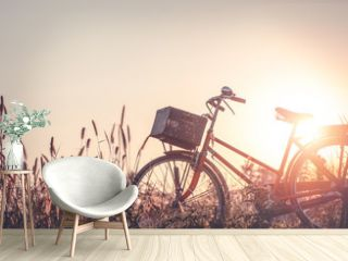 beautiful landscape image with Bicycle at sunset on glass field meadow   summer or spring season background