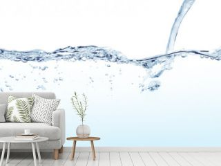 Water line surface and water jet splashing against white background