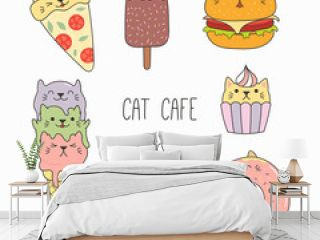 Hand drawn vector illustration of a kawaii funny food and steaming mug cup with cat ears. Isolated objects on white background. Line drawing. Design concept for cat cafe menu, children print.