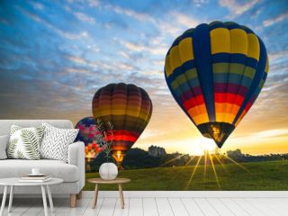 Hot air balloon ready to fly.