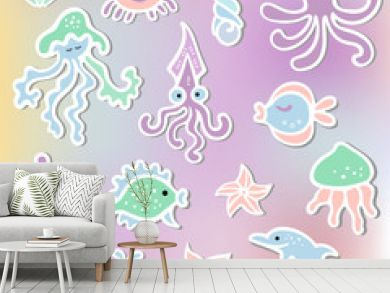 Vector set with Mermaid's friends: octopus, dolphin, whale, sea hourse, crab. Ocean animals as sticker, patch, stick cake toppers. Props for First Year Baby Anniversary, Birthday, Under the Sea party.