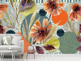 Watercolor flowers and leaves, circle shapes on minimal doodle textures background.