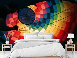 Abstract background, view inside colorful hot air balloon