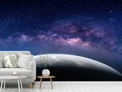 Landscape with Milky way galaxy. Earth view from space with Milky way galaxy. (Elements of this image furnished by NASA)
