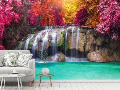 Deep rain forest jungle waterfall